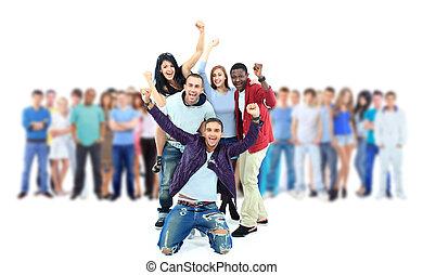 团体, 在中, 年轻, 人们。, 隔离, 在怀特上