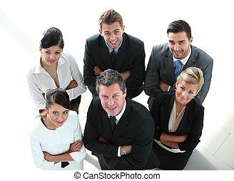 团体, 在中, 成功, 商务人士, 看, 充满信心