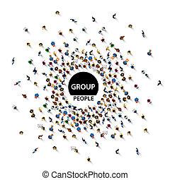 团体, 大, 人们, 人群, 在怀特上, 背景。