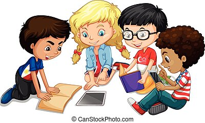 团体, 孩子, 家庭作业