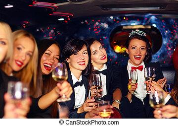 团体, 轿车, 巨大, 妇女, 非常, 党, 母鸡, 开心, 玻璃杯