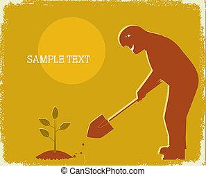 园丁, 铁锨, 挖掘, .vector, 海报