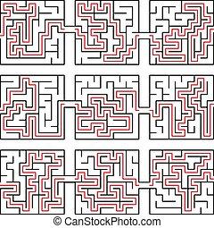 困惑, イラスト, ベクトル, 迷路, 解決, 方法