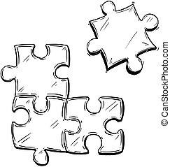困惑, ジグソーパズル, イラスト, 小片, 4, ベクトル, 芸術的, 図画