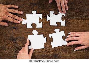 困惑, 小片, 接続, 人間, 手