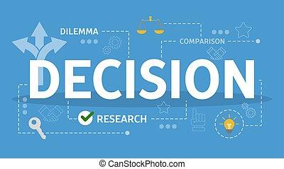 困難, 決定, concept., 考え, 選択