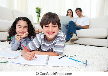 図画, かわいい, 床, あること, 子供