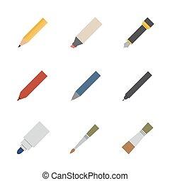 図画, そして, 執筆 用具, アイコン