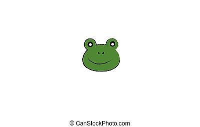 図画, カエル, 顔
