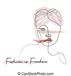 図画, スローガン, 顔, 美しさ, 線, スタイル, デザイン, ベクトル, グラフィックス, ファッション, イラスト, tシャツ, セット, 印刷, 女, ヘアスタイル, 概念, ミニマリスト, 絶え間がない