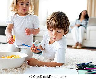 図画, チップ, 愛らしい, 食べること, 子供