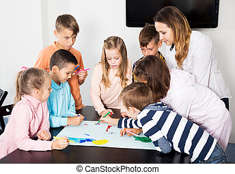 図画, チーム, 年齢, 子供, 基本