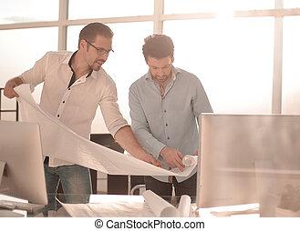 図画, プロジェクト, 論じる, 従業員, 新しい