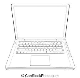 図画, ベクトル, laptop., イラスト, アウトライン
