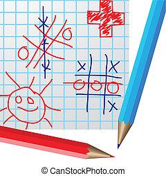 図画, 上に, ペーパー, そして, 鉛筆