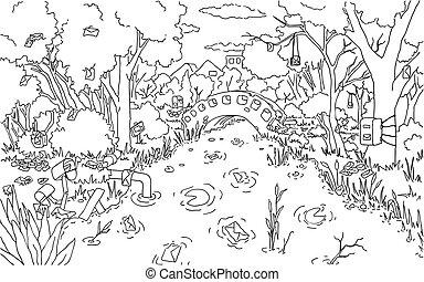 図画, 公園, メール, 池, 線