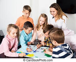 図画, 基本的な 年齢, 子供, チーム