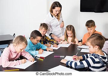 図画, 基本, 教室, 年齢, 子供, 教師