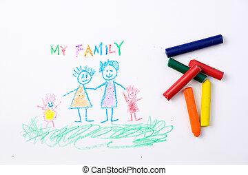 図画, 子供, 家族, 幸せ
