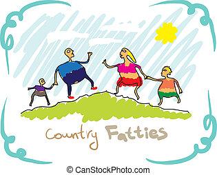 図画, 家族, 国, fatties.