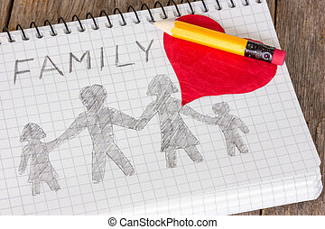 図画, 家族, 子供