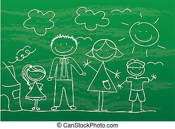 図画, 家族, 幸せ