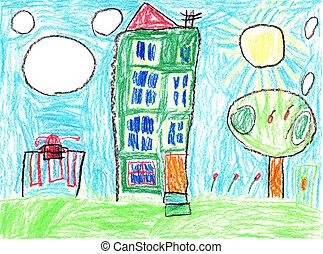 図画, 家, 子供