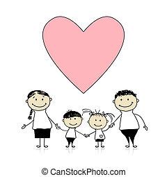 図画, 幸せ, 愛, 家族, スケッチ