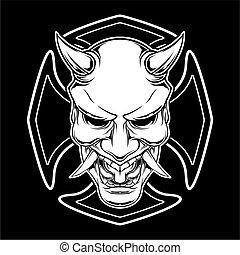 図画, 悪魔, モンスター, satanic, 手