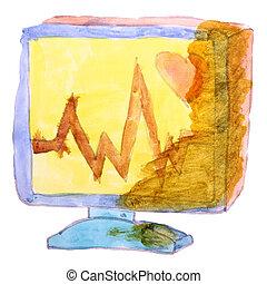 図画, 漫画, 子供, 水彩画, モニター, 上に, a, 白い背景