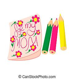 図画, 私, 子供, アイコン, お母さん, 映像, 漫画