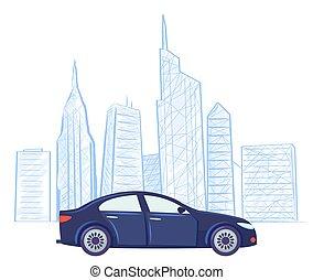 図画, 自動車, ベクトル, 超高層ビル, スケッチ, 都市の景観