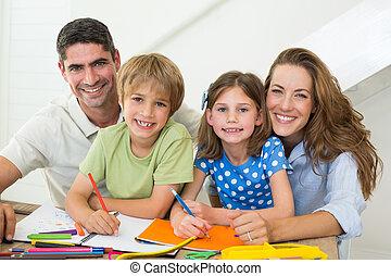 図画, 親, 子供, 家