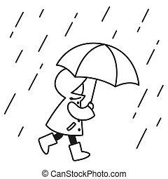 図画, 雨, 子供