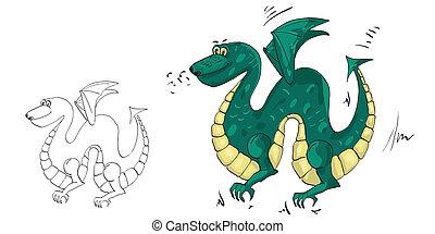図画, a, 緑の竜, ∥で∥, 翼