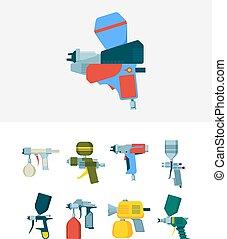 図画, airbrush, 絵, スプレー, ベクトル, gun., 工業設備, 道具