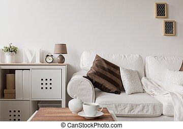 図画, commode, ソファー, 白い部屋