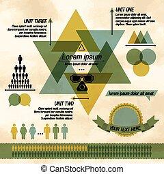図, カーキ色, ビジネス, infographic