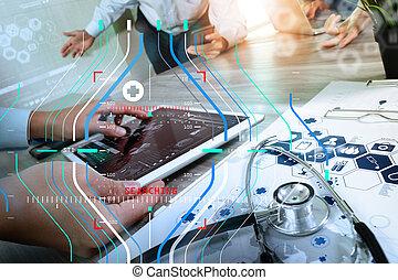 図, タブレット, 医者, プロ, デジタル, 仕事, 現代, 木製である, コンピュータ, チーム, 彼の, 机, 医学, 手, 薬, 概念