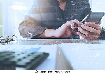 図, 文書, オフィス, タブレット, グラフ, ビジネス 電話, 仕事, コンピュータ, 背景, デジタル, ビジネスマン, テーブル, 痛みなさい