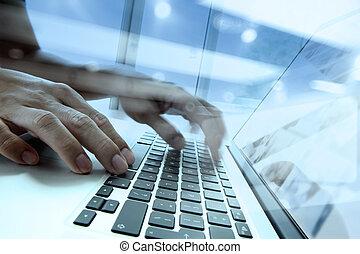 図, 文書, 労働者のオフィス, ダブル, ラップトップ, ビジネスマン, 手, ビジネス, 媒体, コンピュータ, 社会, テーブル, さらされること