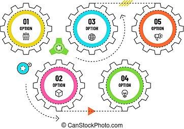 図, 概念, ワークフロー, options., タイムライン, infographic., プロセス, 工学, ベクトル, 5, ギヤ, テンプレート, infographics, フローチャート