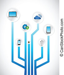 図, 概念, 技術, 回路, イラスト