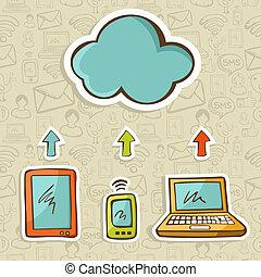 図, 概念, 雲, 計算