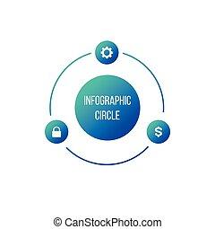 図, 概念, processes., ビジネス, 部分, オプション, ∥あるいは∥, グラフ, ラウンド, chart., 3, ベクトル, ステップ, 4, テンプレート, 円, プレゼンテーション, infographic., 周期