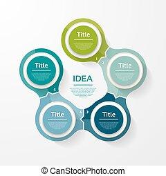 図, 概念, processes., ビジネス, 部分, infographic., グラフ, chart., バックグラウンド。, ベクトル, 5, テンプレート, 抽象的, ステップ, 円, プレゼンテーション, ∥あるいは∥, オプション