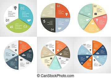 図, 概念, processes., ビジネス, 5, 部分, 矢, オプション, 7, 6, グラフ, 3, ...
