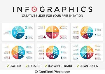 図, 概念, processes., ビジネス, 5, 部分, 矢, オプション, 7, 6, グラフ, 3, chart., infographic, 4, ベクトル, 8, ステップ, 円, プレゼンテーション, 周期