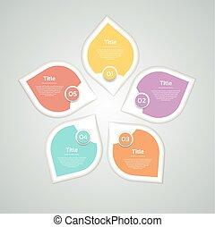 図, 概念, processes., ビジネス, infographic, オプション, 矢, グラフ, chart., プレゼンテーション, ベクトル, 5, infographics, 渦巻, ステップ, 円, データ, template., 部分, 周期
