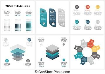 図, 概念, processes., ビジネス, infographic, 6, オプション, 矢, グラフ, chart., 部分, 4, ベクトル, 8, 3, ステップ, 円, プレゼンテーション, 周期